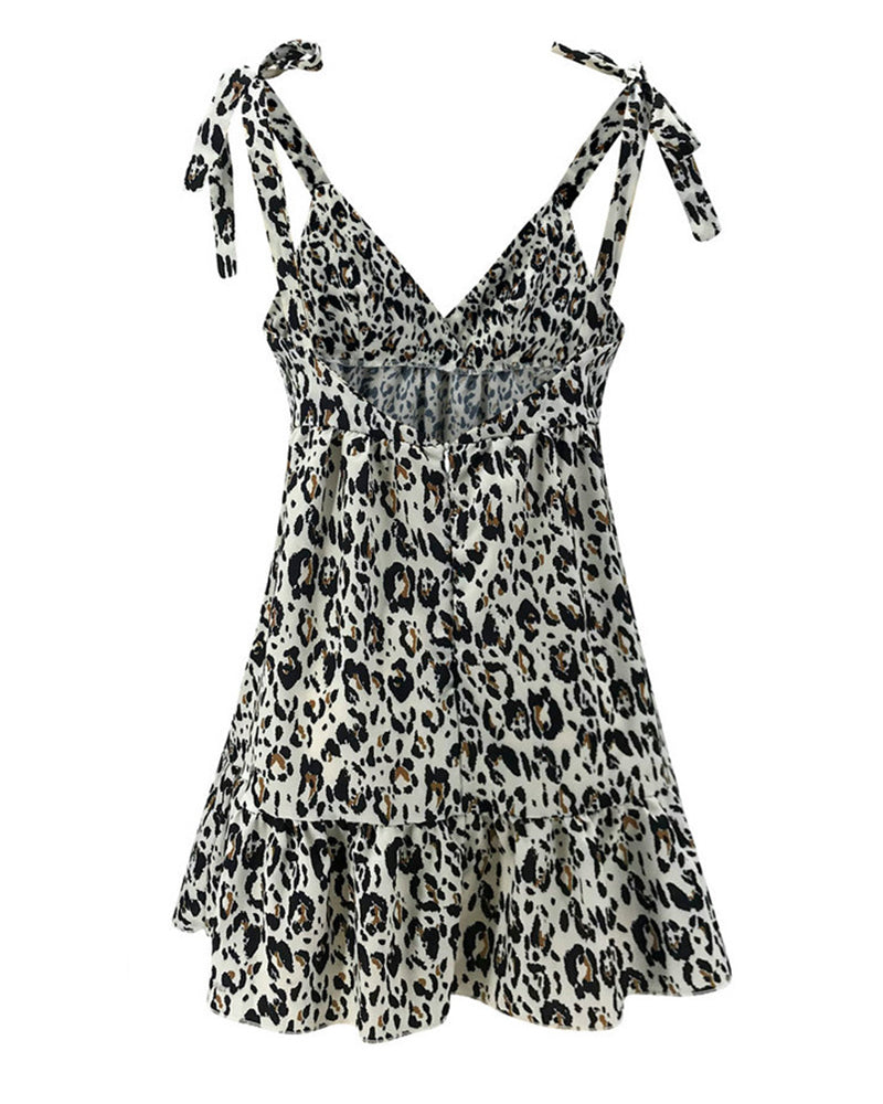 Leopard Print Tied Strap Open Back Dress