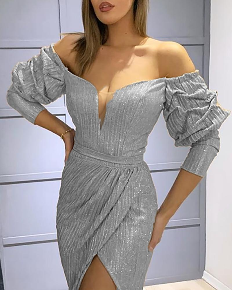 Glitter Off Shoulder High Slit Evening Dress