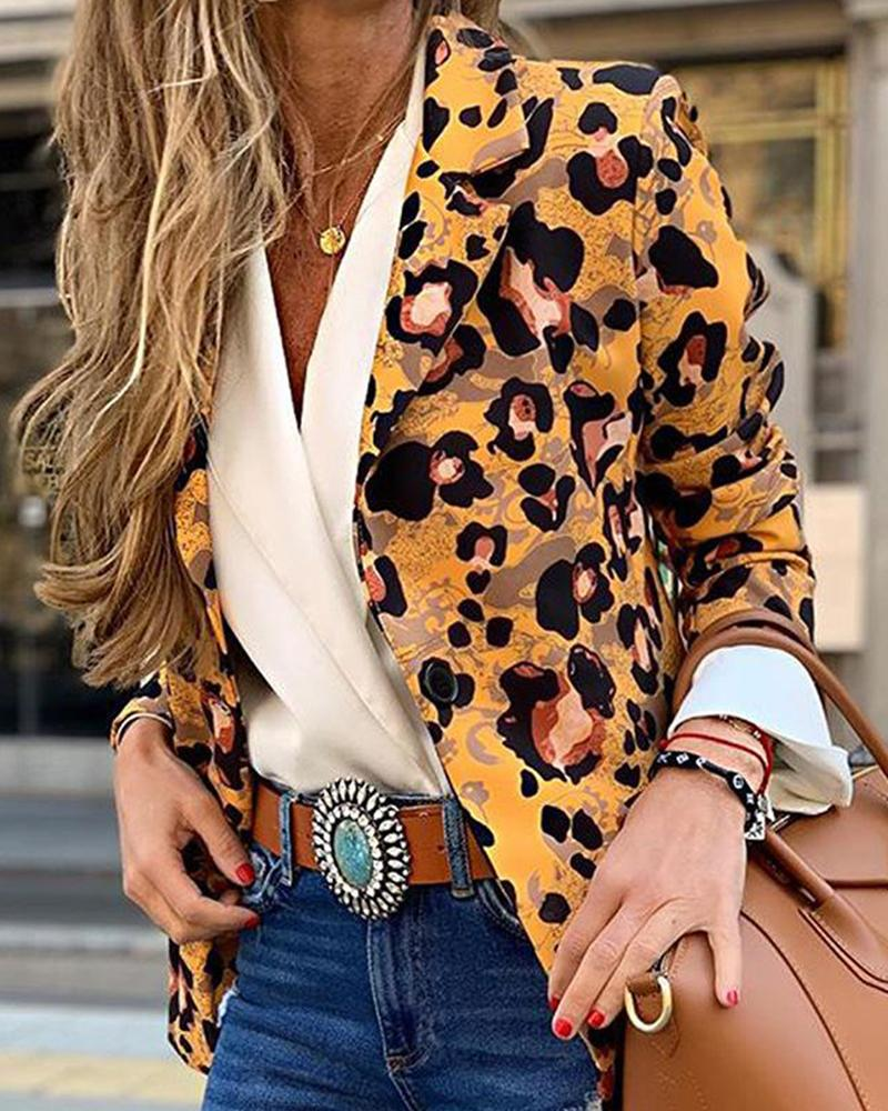 Leopard Print One-Button Blazer 3