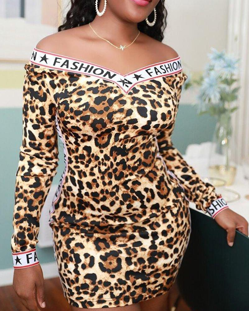 Contrast V Neck Leopard Dress