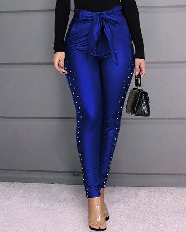 High Waist Beaded Bowknot Pants