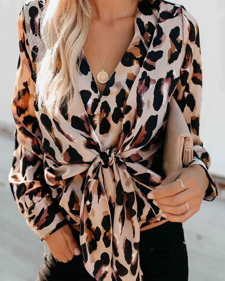 Leopard Print Knot Front Casual Blouse