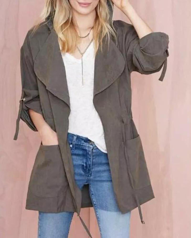 Double Pocket Drape Hooded Jacket