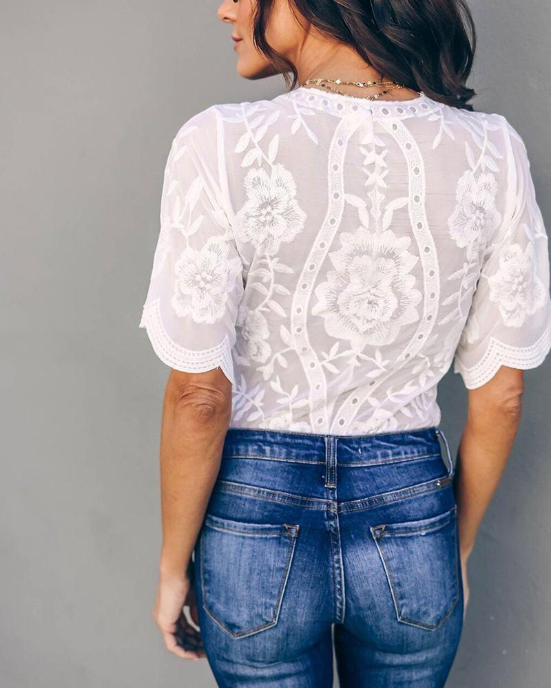 Lace V-neck Flower Embroidered