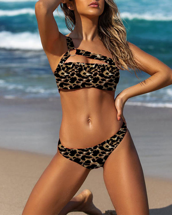 One Shoulder Leopard Print Bikini Set