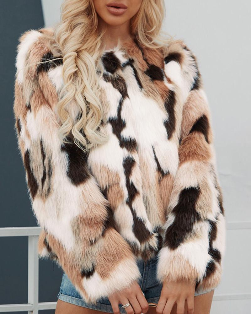 Colorblock Open Front Long Sleeve Fur Fluffy Coat
