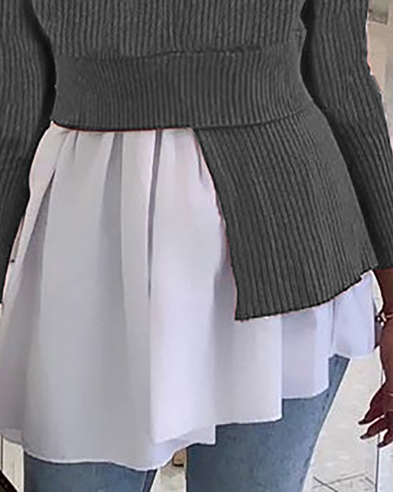 Colorblock Ruffles Long Sleeve Blouse