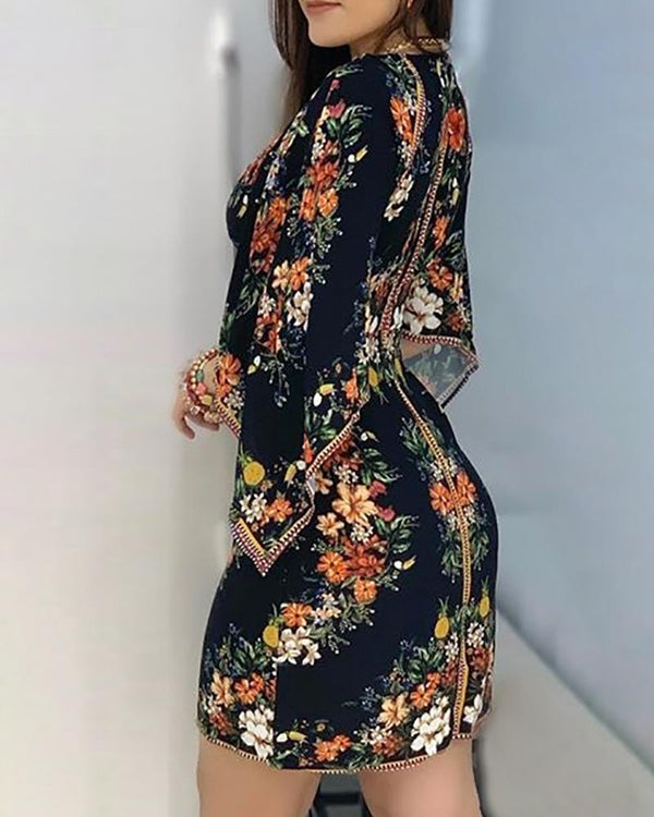 Floral Print Cape Sleeve Bodycon Dress