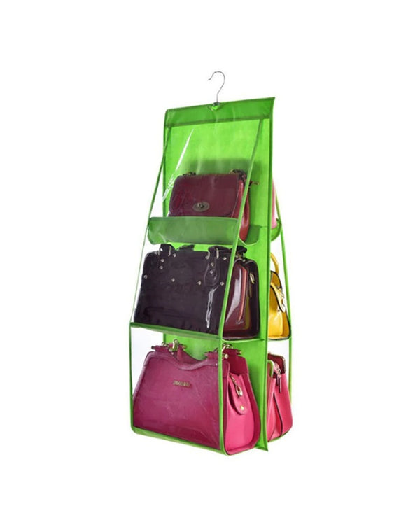 6 Pocket Hanging Bag Organizer Wardrobe Transparent Storage Bag