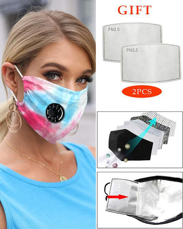 Tie Dye Print Breathing Washable Valve Face Mask (2 filters as gift)