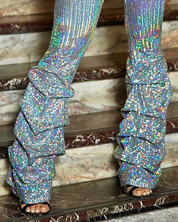Glitter High Waist Colorful Sequins Pants