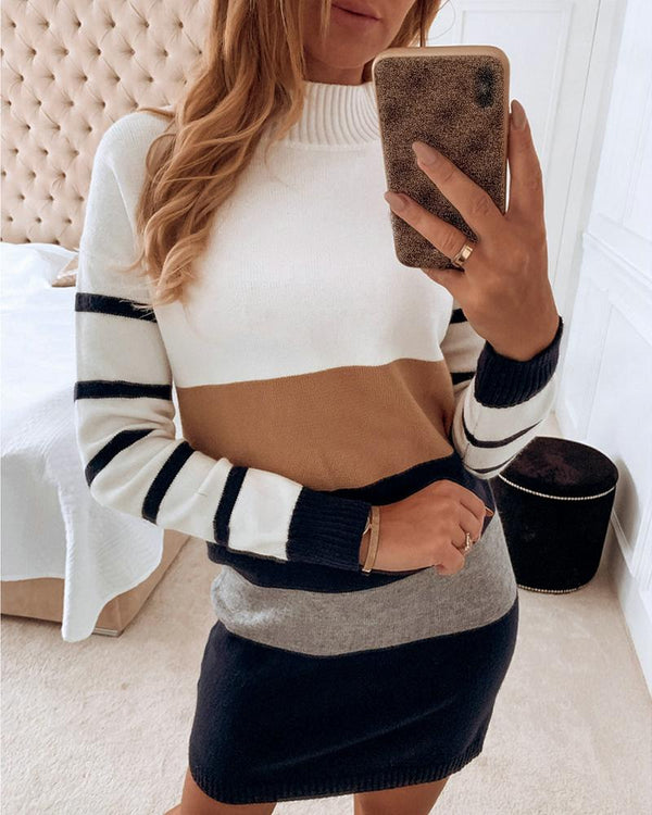 High Neck Colorblock Striped Long Sleeve Sweater Dress