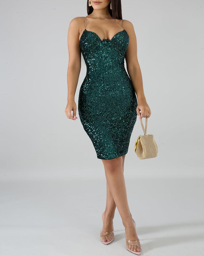 Glitter Spaghetti Strap Slit Zipper Back Sequins Bodycon Dress