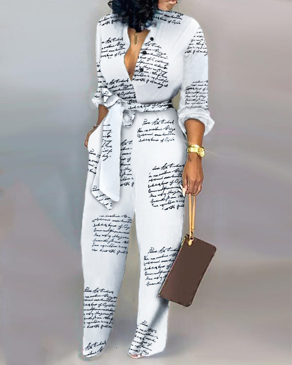 Letter Print Casual Knotted Jumpsuit