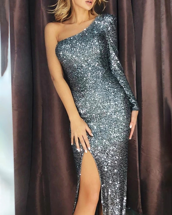 Glitter One Shoulder High Slit Sequins Dress