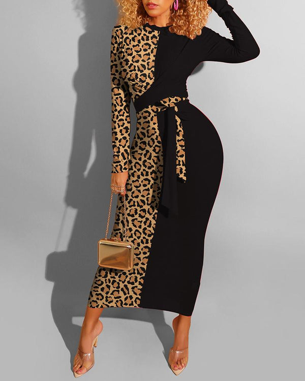 Leopard Colorblock Knotted Long Sleeve Dress