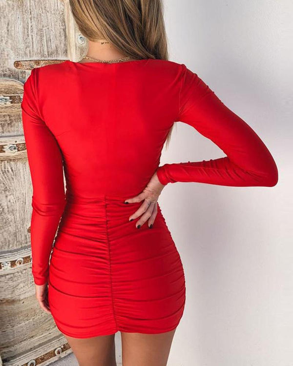 Solid Square Neck Ruched Bodycon Dress