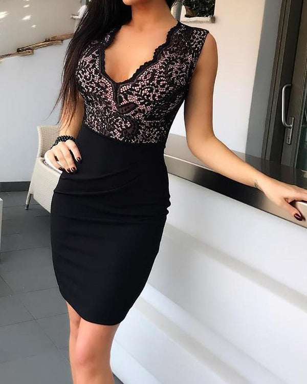 Crochet Lace Colorblock Bodycon Dress