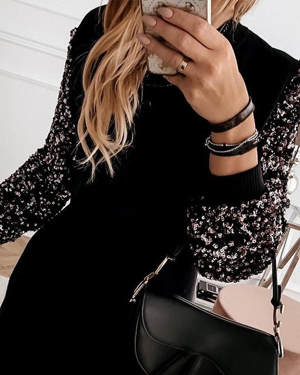 Embellished Sleeve Spliced Mini Dress