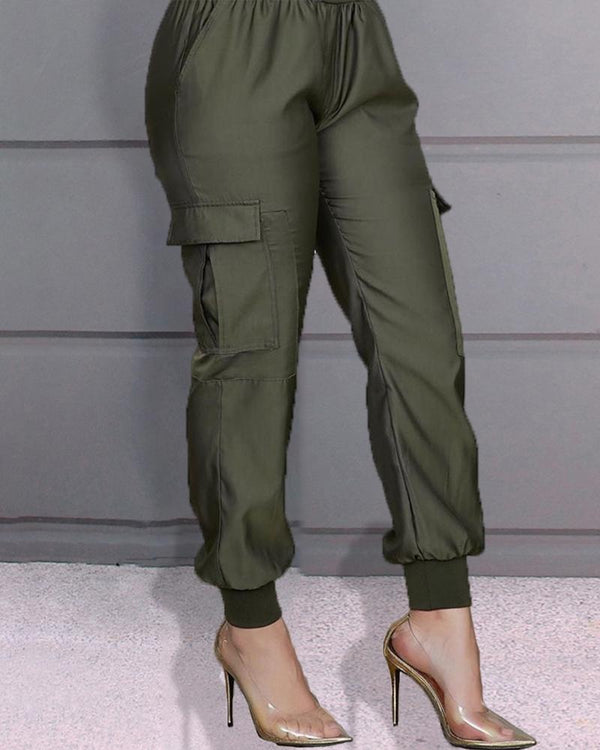 High Waist Pocket Design Casual Pants