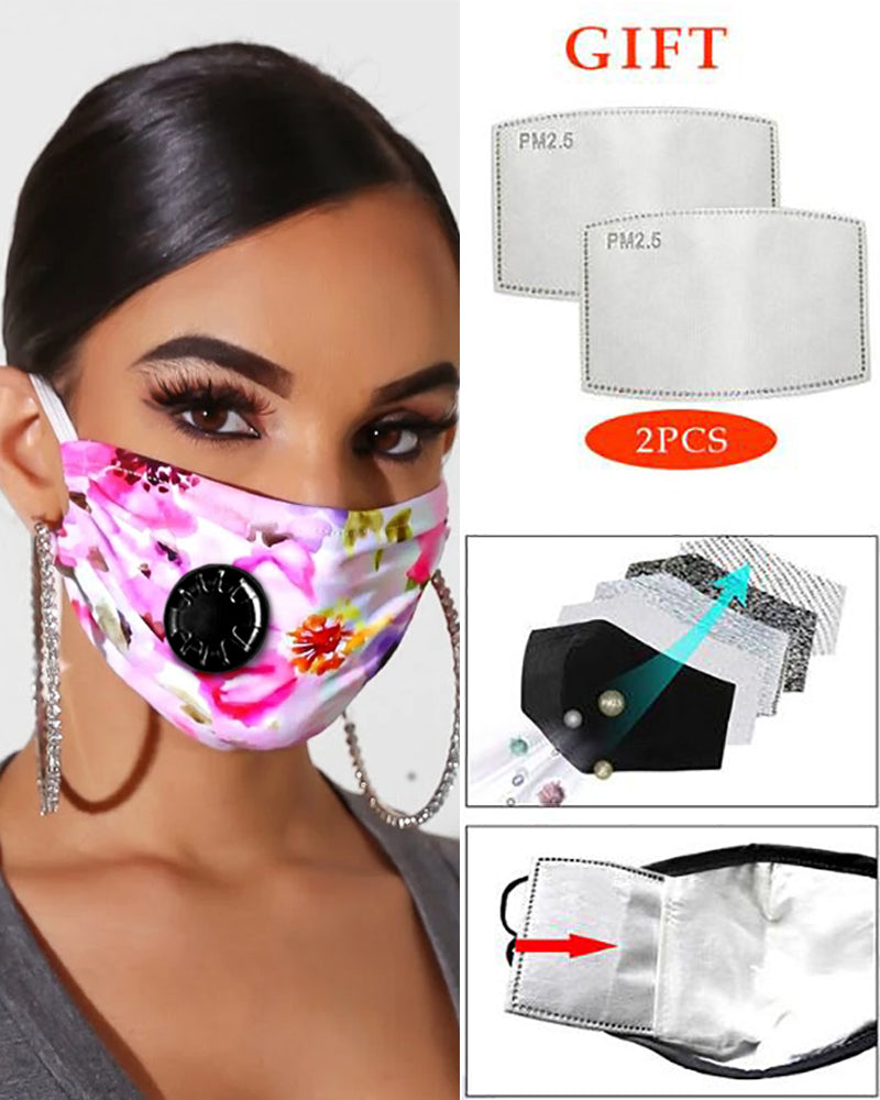 Print Breathing Washable Valve Face Mask (2 filters as gift) Without Cord Lock Toggles