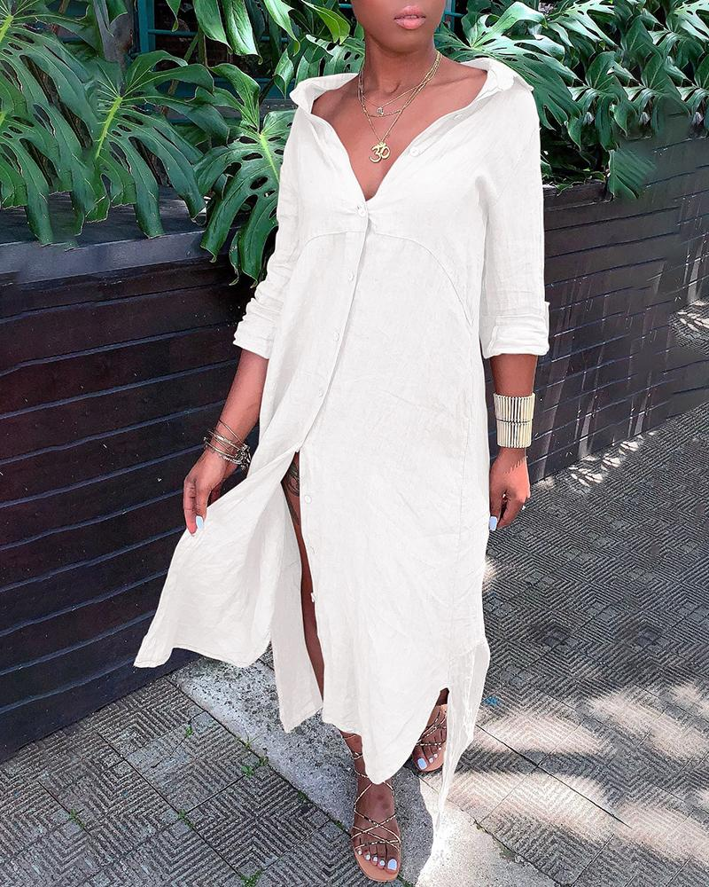 Solid Turn-down Collar Buttoned Longline Shirt Dress