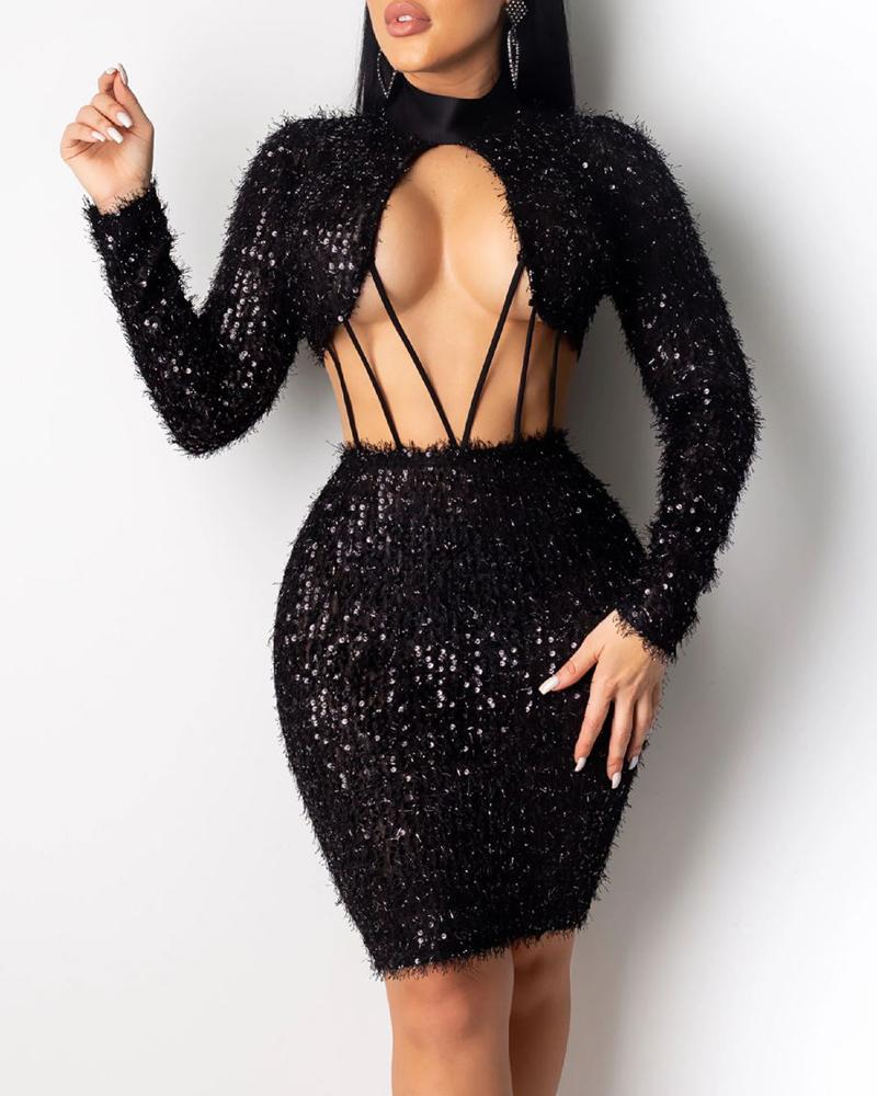 Mock Neck Sequins Fluffy Cut Out Long Sleeve Bodycon Dress