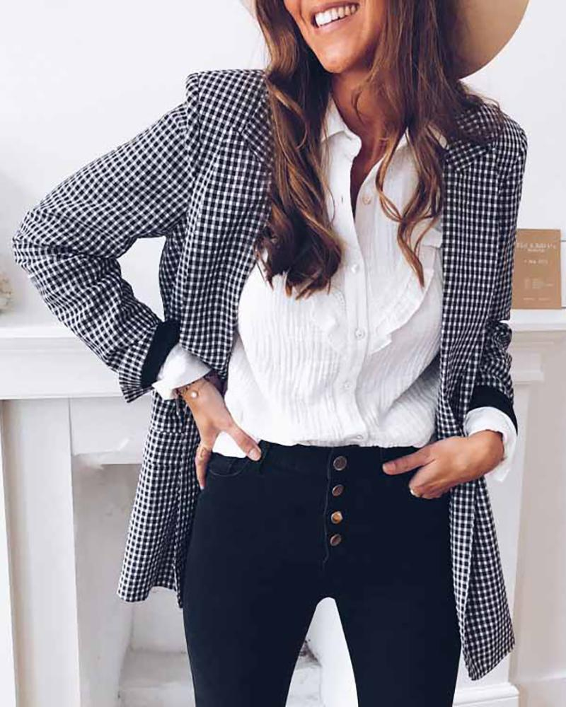 Notched Collar Plaid Long Sleeve Blazer