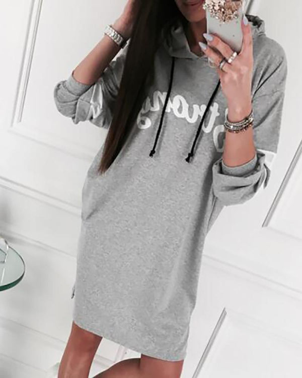 Letter Print hooded Sweatshirt Dress
