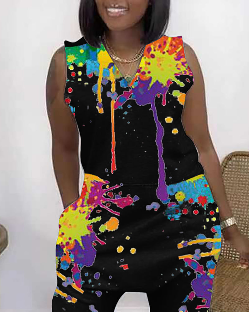 Ink Splash Print Sleeveless Pocket Design Jumpsuit