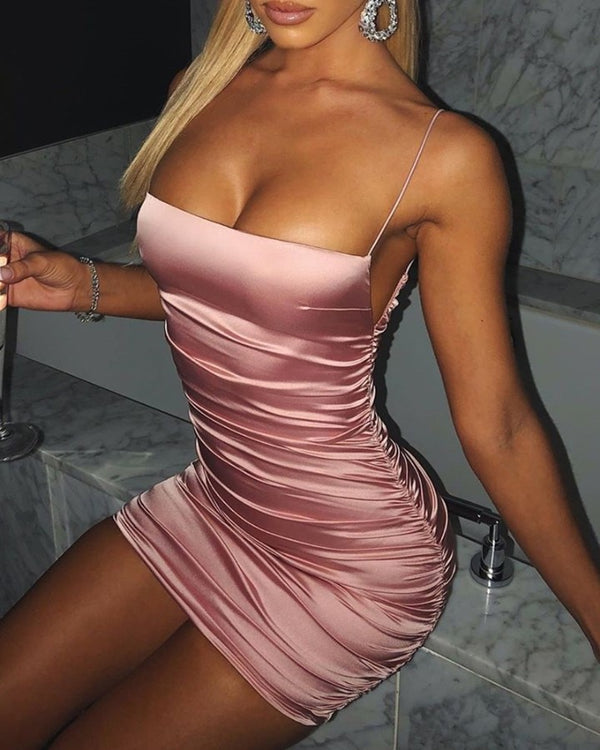 Spaghetti Strap Ruched Solid Bodycon Dress
