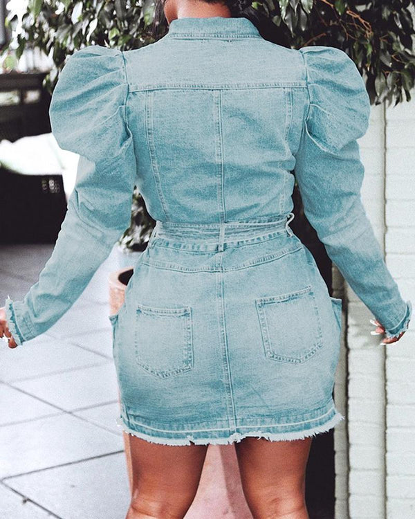 Solid Puffed Sleeve Denim Dress