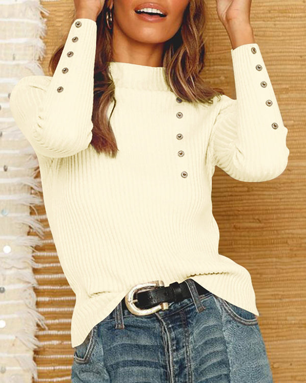 Solid Eyelet Hollow Out Long Sleeve Sweater