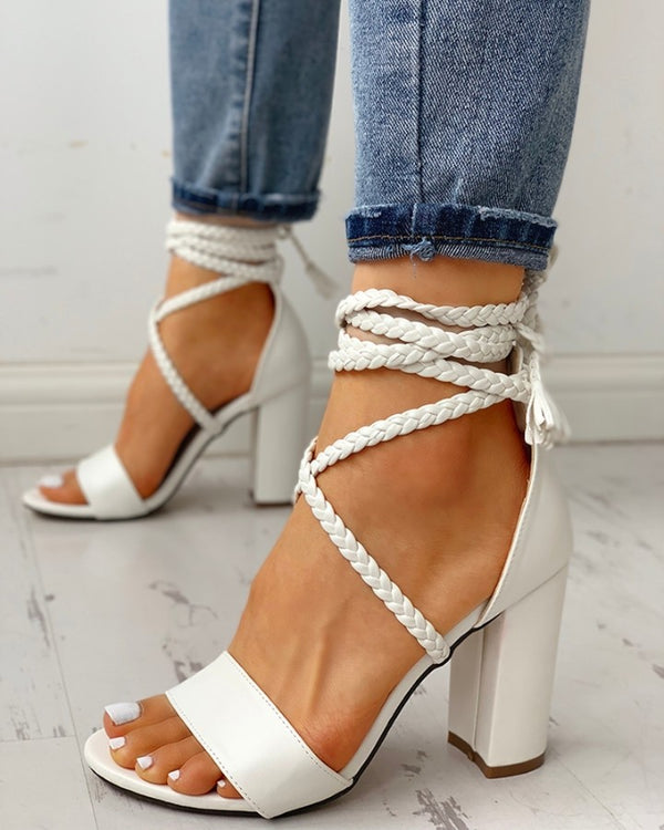 Open Toe Braided Strap Chunky Heeled Sandals