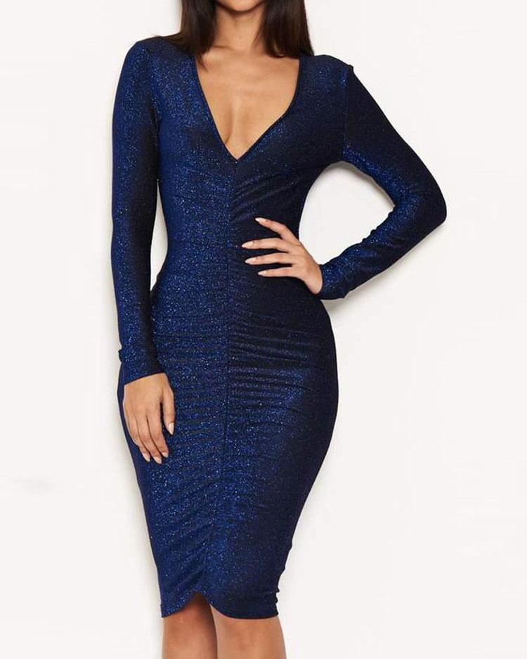 V-Neck Glitter Ruched Design Party Dress