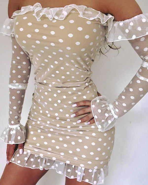 Polka Dot Off Shoulder Frill Bell Cuff Bodycon Dress