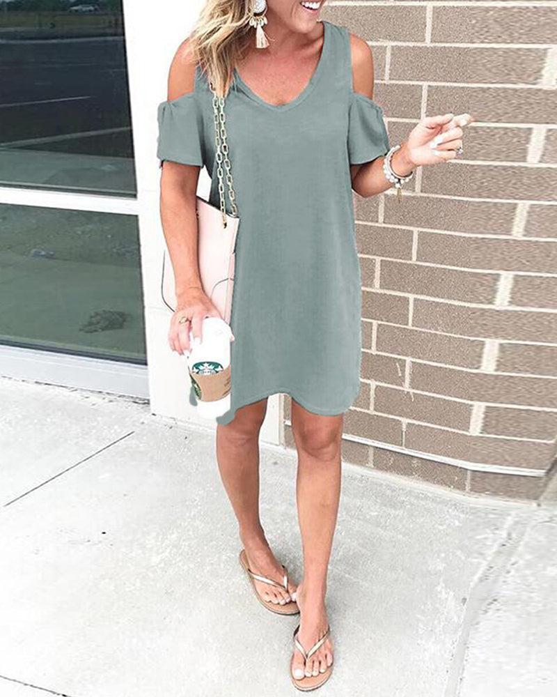 Cut Out Shoulder Casual Solid Dress