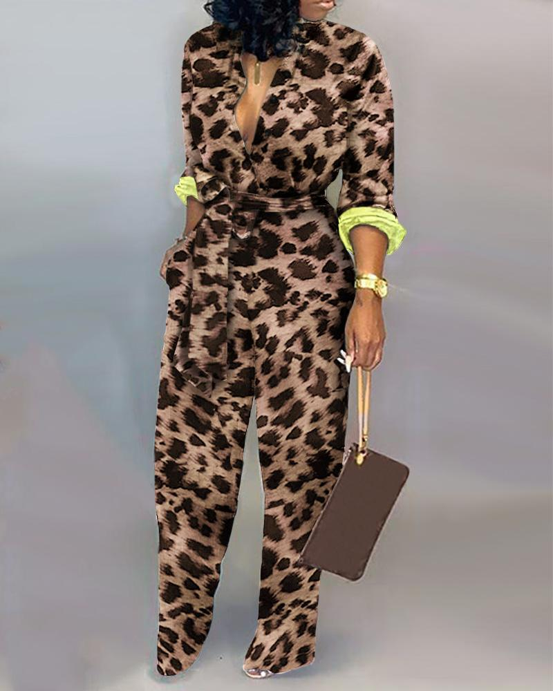 Leopard Long Sleeve Knotted Jumpsuit 1