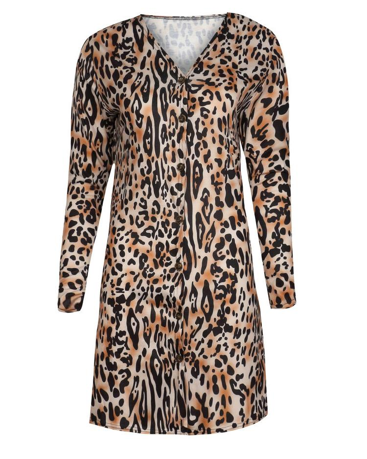 Leopard Print Button Design Long Sleeve Coat