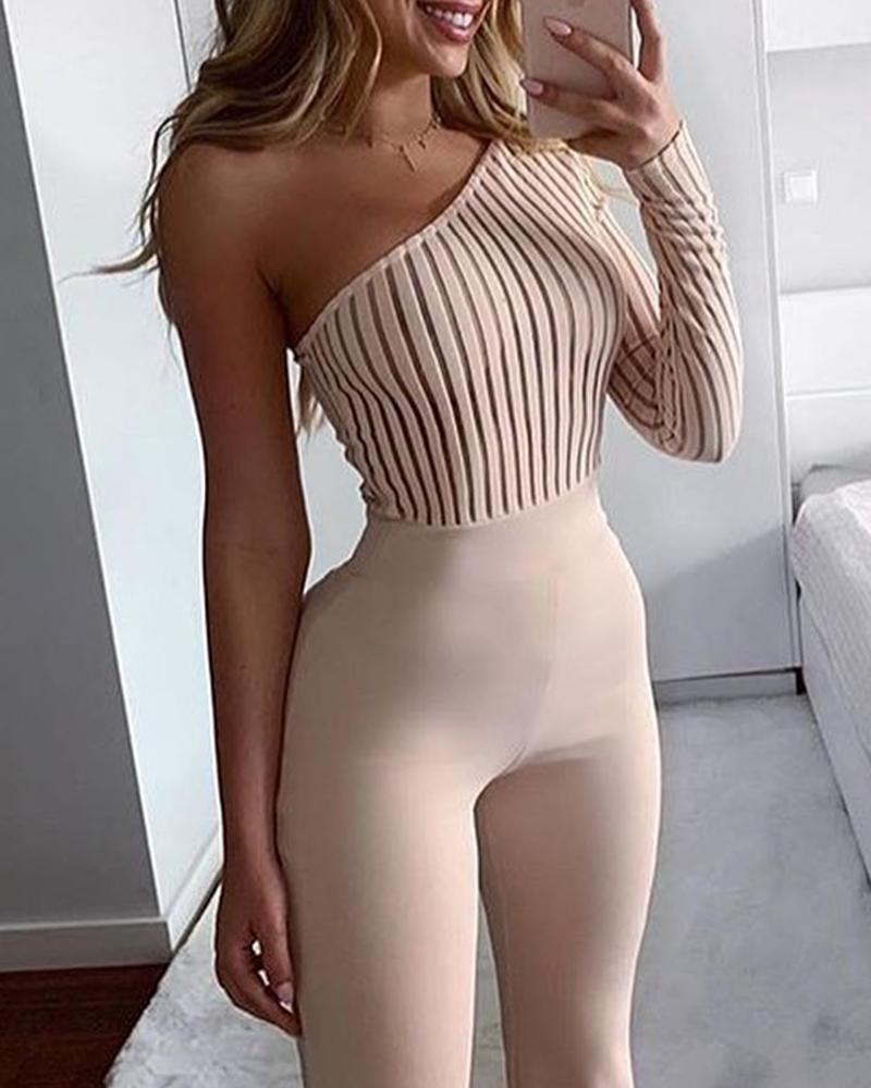 One Shoulder Knitted Bodycon Jumpsuit 17