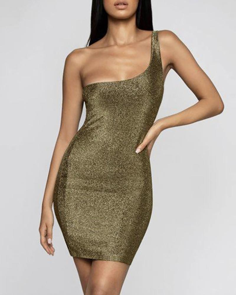 Glitter One Shoulder Thick Strap Bodycon Dress