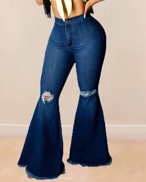 High Waist Bell-bottomed Frayed Ripped Denim Pants
