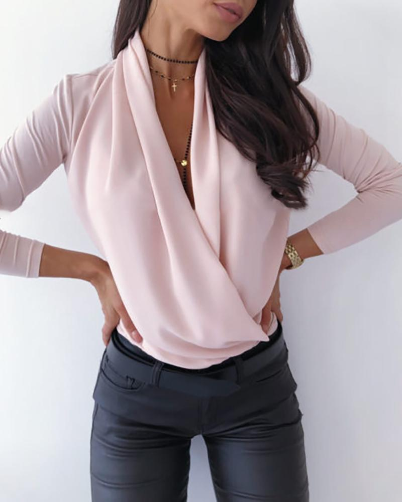 Solid Cowl Neck Long Sleeve Ruched Casual Blouse