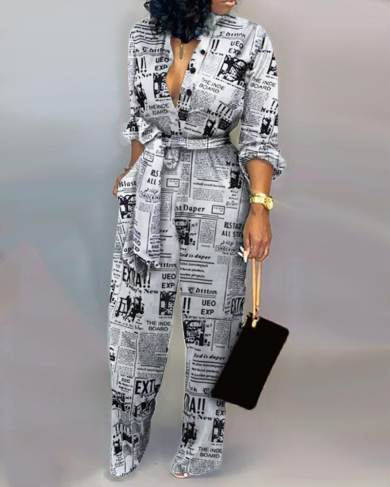 Headline Print Tied Waist Jumpsuit 18