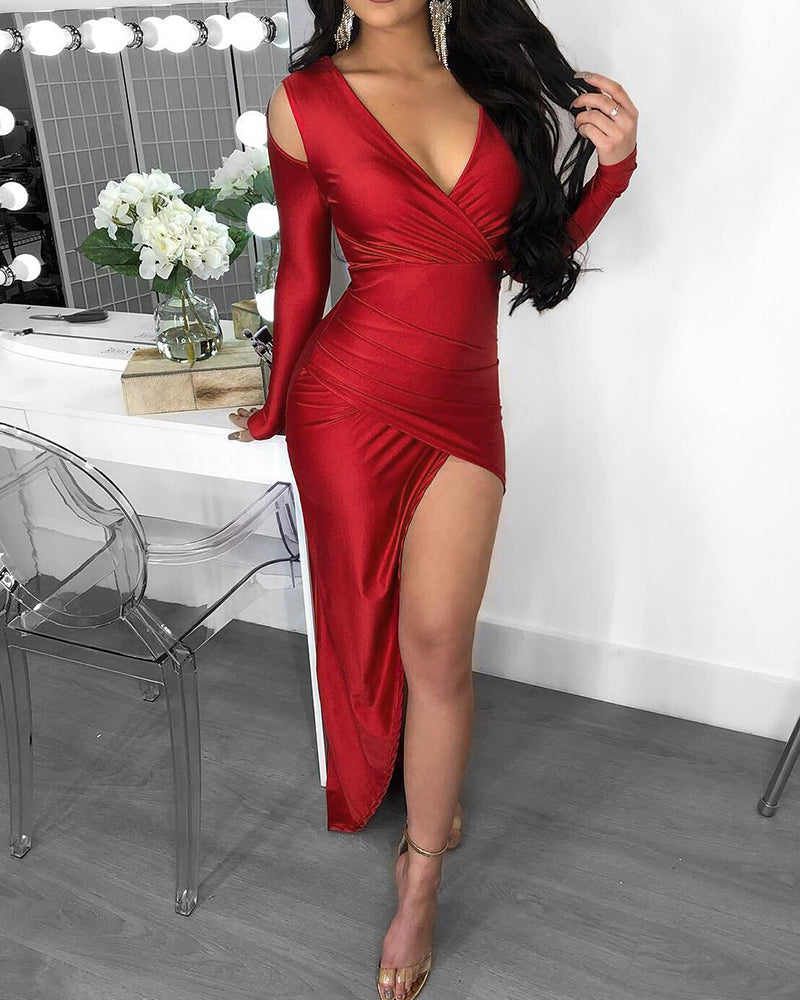 High Slit Ruched Colid Shoulder Dress