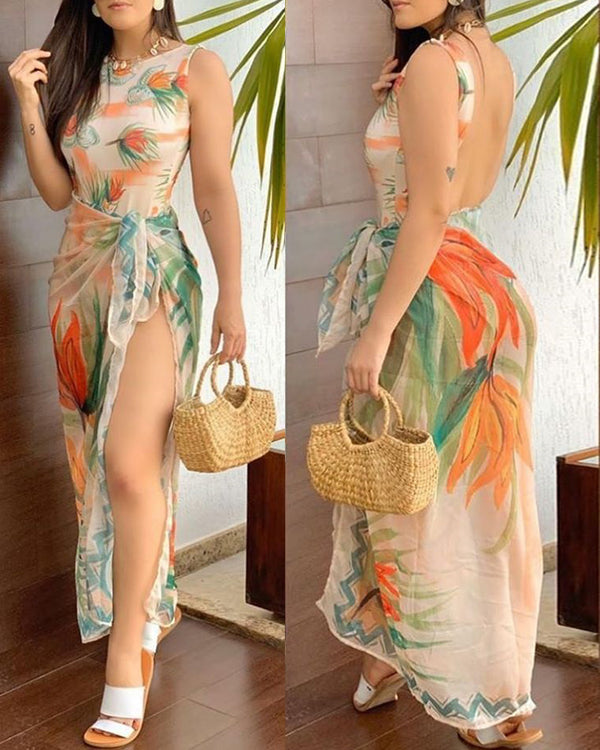 Floral Print Backless Monokini With Cover Ups