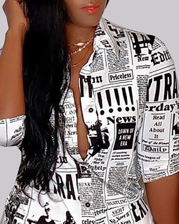 Newspaper Print Buttoned Shirt & Pant Sets