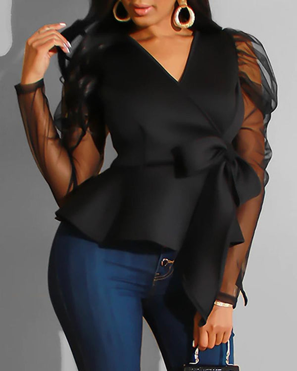 V Neck Puff Sleeve Mesh Insert Surplice Wrap Ruffles Blouse