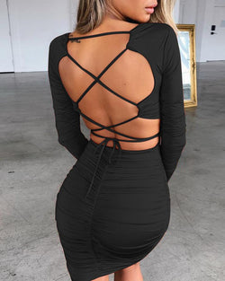Solid Long Sleeve Ruched Crisscross Backless Dress