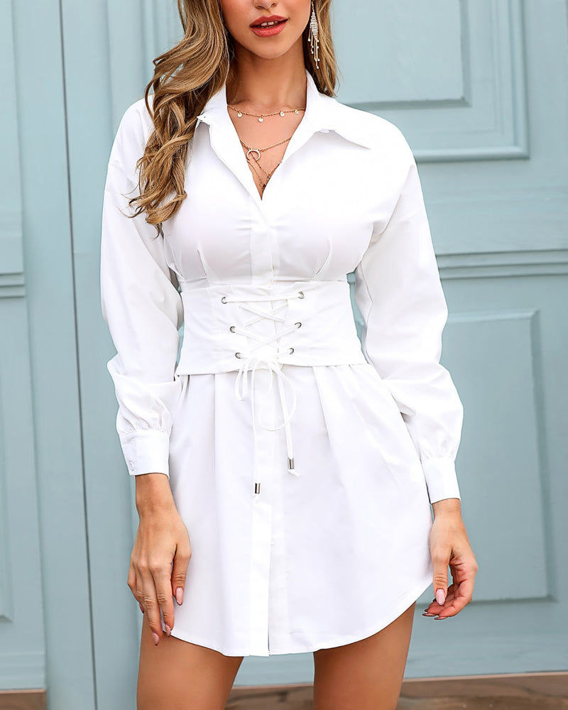 Solid Turn-down Collar Eyelet Lace-up Shirt Dress